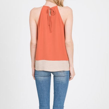 Rust Embroidered High Neck Tank
