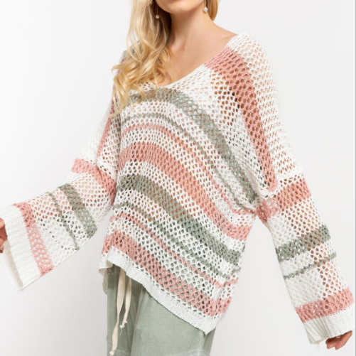 Oversized Pink & Sage Striped Open Knit Sweater