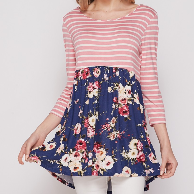 Pink Stripe & Navy Floral Baby Doll Top