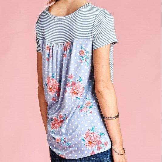 Blue Striped Short Sleeve Top with Floral Polka Dot Printed Back