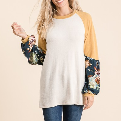 (FINAL SALE) Yellow & Beige Raglan Top with Teal Floral Long Sleeve