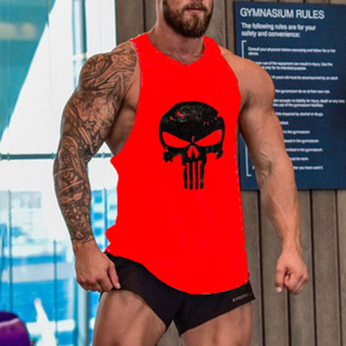 Punisher bodybuilding muscle tank top men high elastic