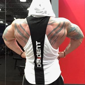 Dissident Bodybuilding Stringer Tank Top with hood Mens