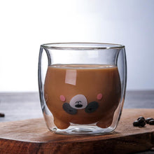 Load image into Gallery viewer, Creative Transparent Double Wall Glass Cartoon Bear Cat Duck Coffee Mug Milk Juice Gift Cat Cup