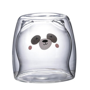 Creative Transparent Double Wall Glass Cartoon Bear Cat Duck Coffee Mug Milk Juice Gift Cat Cup