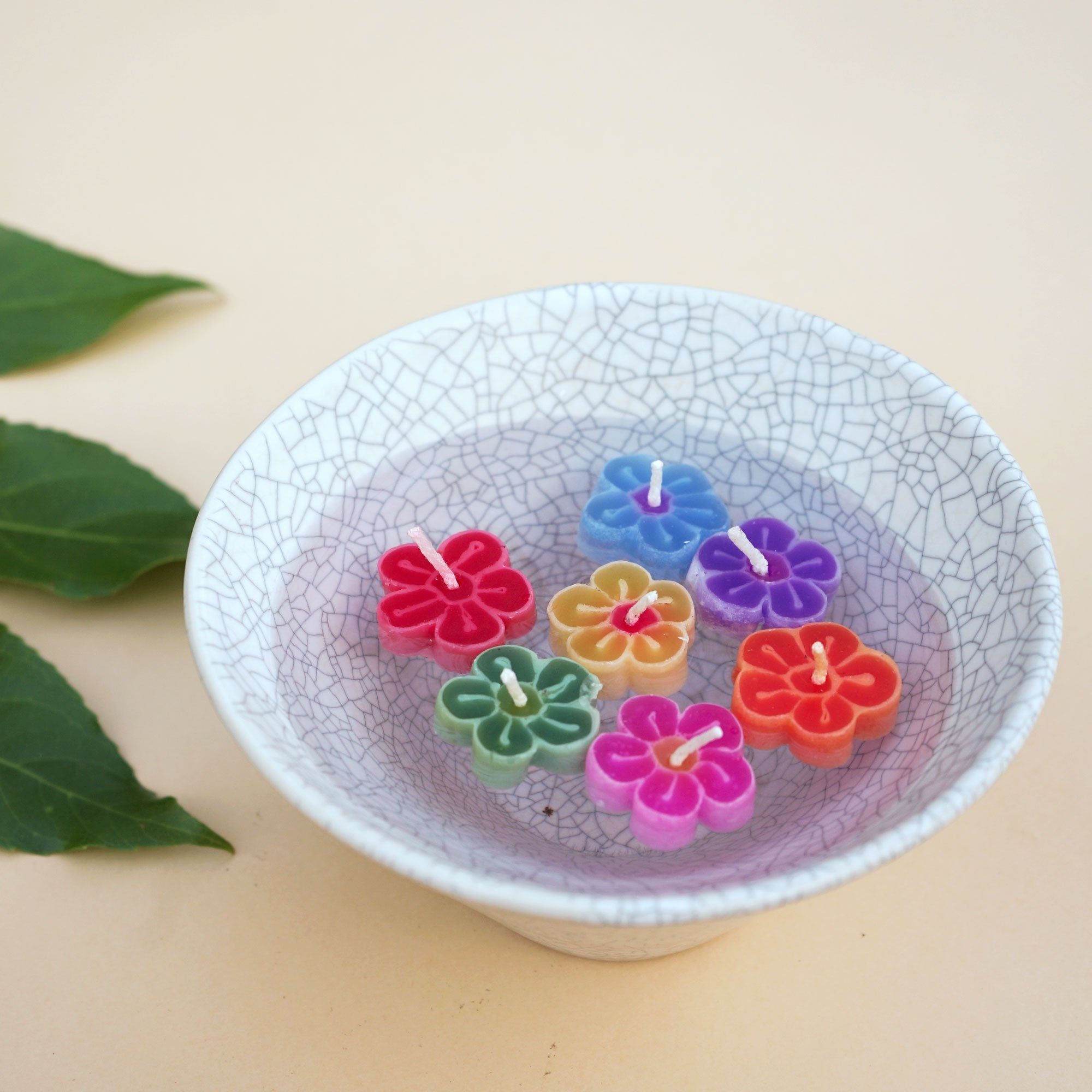 Mini Assorted Flower Floating Scented Candles. Handmade and fairtrade product.