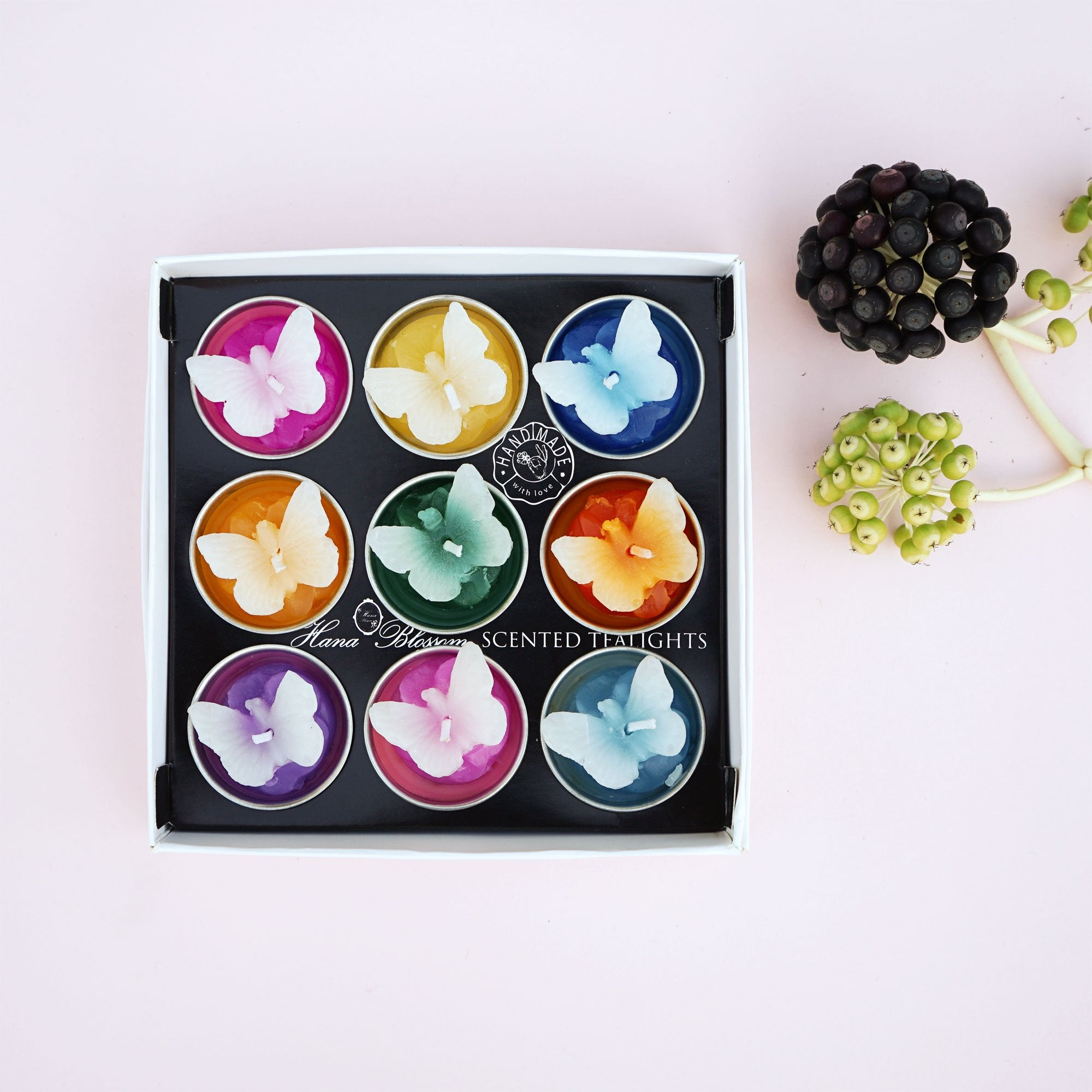 Handmade fair trade assorted butterfly scented tealights. A perfect gift for her.
