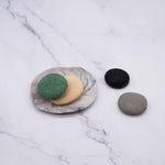 Handmade 4 Big Pebble Soaps with Porcelain Soap Dish Set