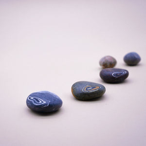 Assorted Handmade Pebble Soaps in Spiral Pattern Design
