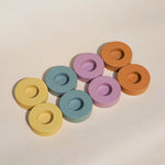 Donut wooden tealight holders. Pastel colours with minimalism design.