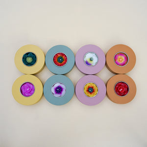 Donut wooden tealight holders with flower tea lights