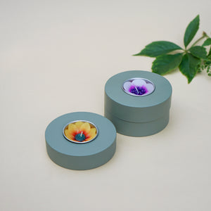 Sage donut wooden tealight holder with handmade flower tealight.