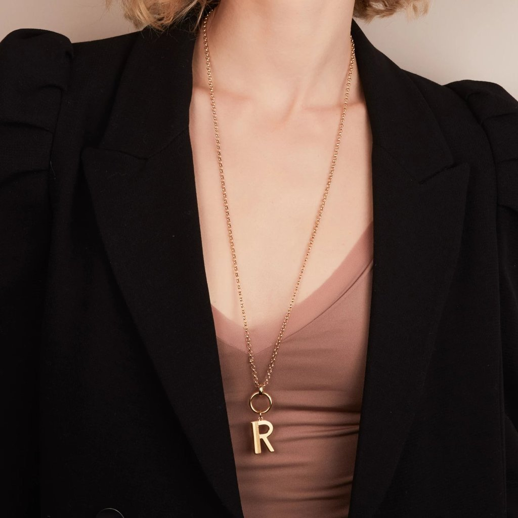 RACHEL JACKSON STATEMENT LONG INITIAL NECKLACE