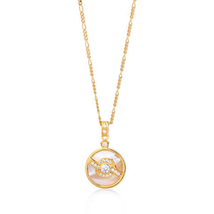 V BY LAURA VANN EDIE PEARL NECKLACE ON FIGARO CHAIN