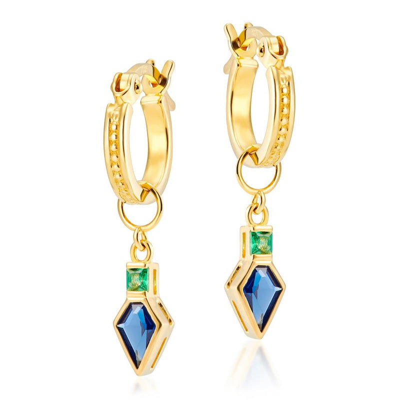 V BY LAURA VANN FRANCES HOOPS WITH BLUE & GREEN SHIELD CHARM