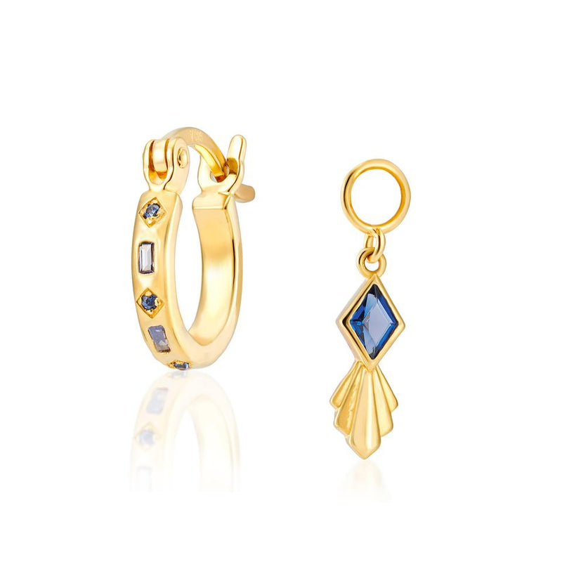 V BY LAURA VANN IRIS HOOPS WITH RHOBUS CHARM IN BLUE