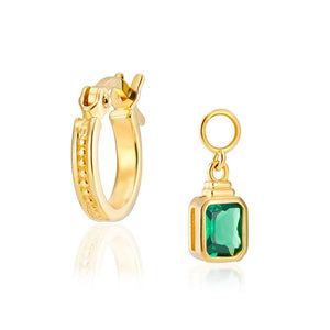 V BY LAURA VANN FRANCES HOOPS WITH GREEN EMERALD CUT CHARM