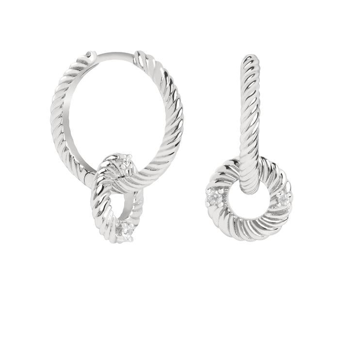 ASTRID & MIYU LUMINOUS CHARM HOOP EARRINGS