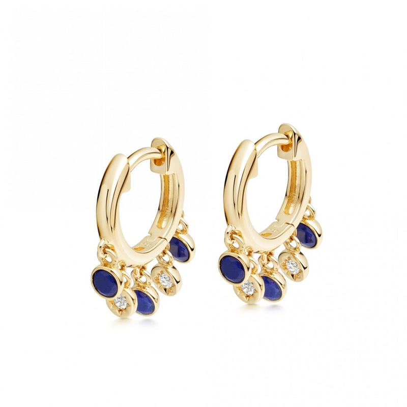 ASTLEY CLARKE LAPIS DROPLET HOOP EARRINGS