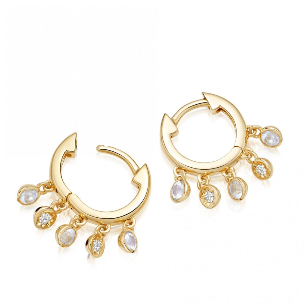ASTLEY CLARKE BIOGRAPHY DROPLET MOONSTONE HOOP EARRINGS