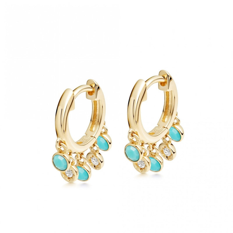 ASTLEY CLARKE BIOGRAPHY DROPLET TURQUOISE HOOP EARRINGS