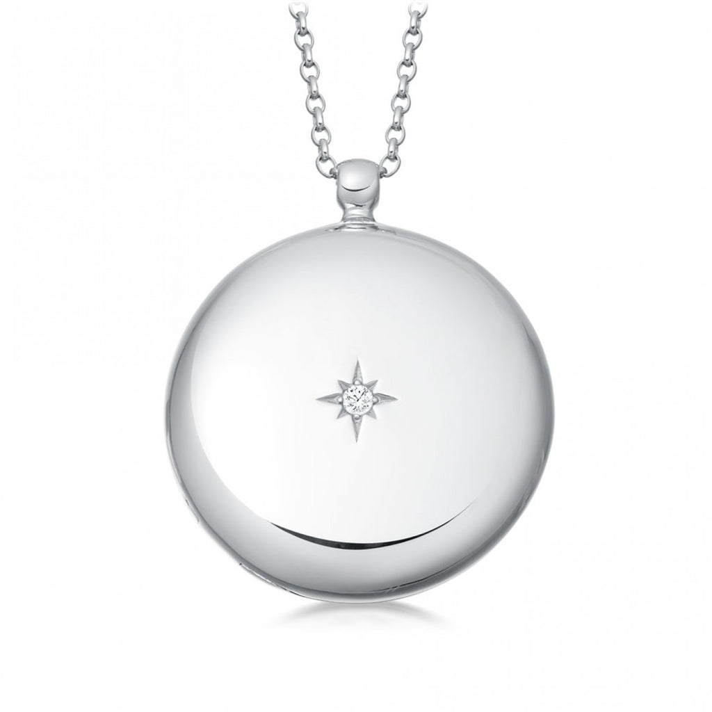 ASTLEY CLARKE WHITE SAPPHIRE LARGE LOCKET NECKLACE