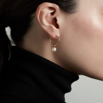 ASTLEY CLARKE VERA PEARL DROP HOOP EARRINGS