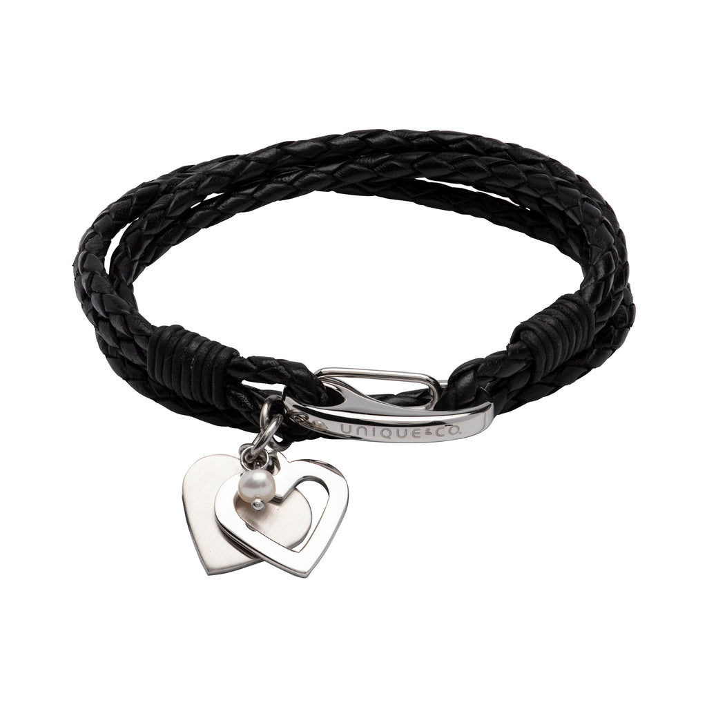 UNIQUE LEATHER HEART CHARM WRAP BRACELET