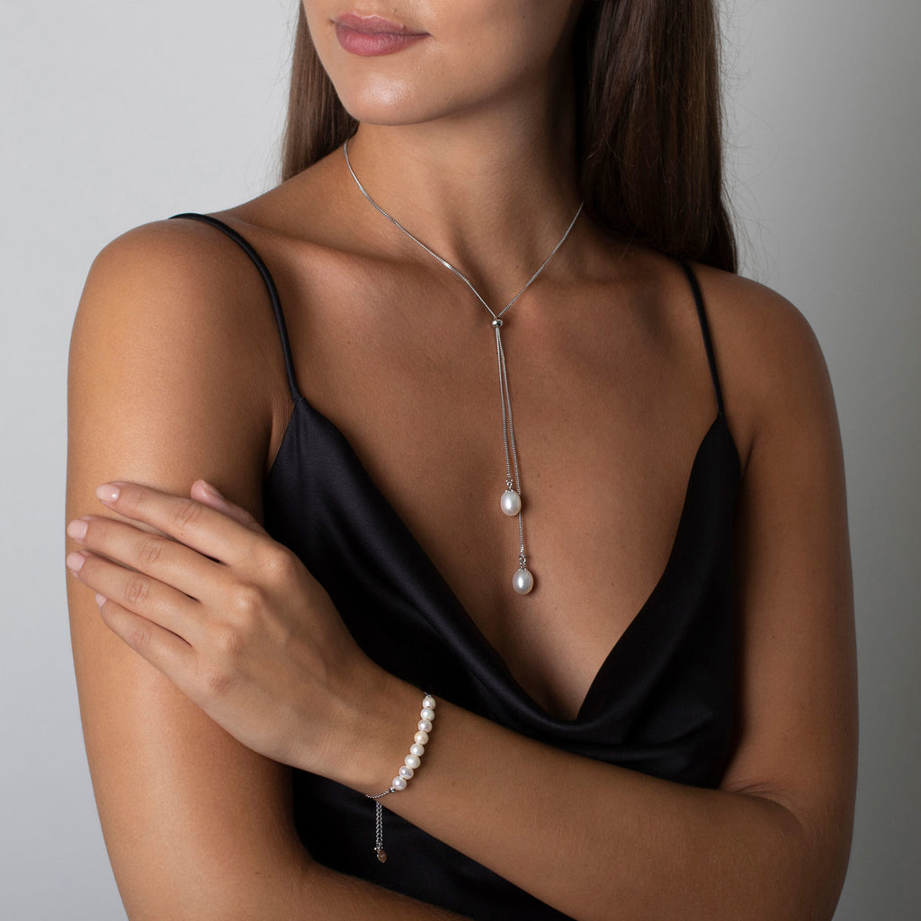CLAUDIA BRADBY ANGELINA PEARL LARIAT NECKLACE