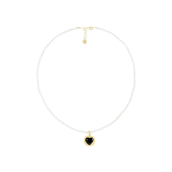 WILHELMINA GARCIA HEART AND PEARL DATING NECKLACE