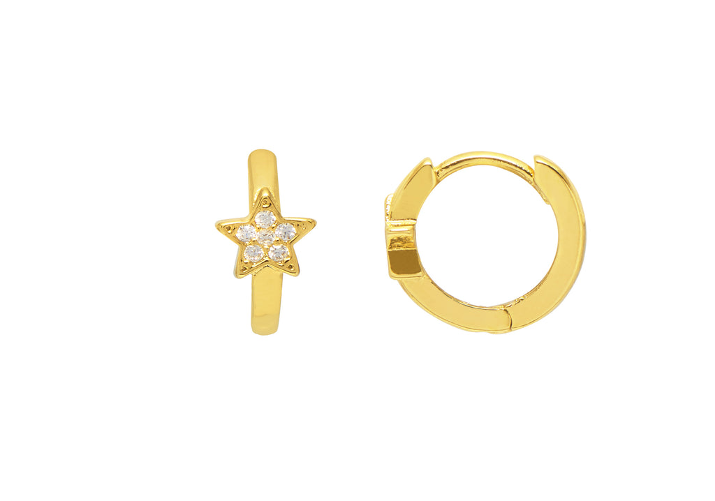 ESTELLA BARTLETT CZ STAR MINI HOOP EARRINGS
