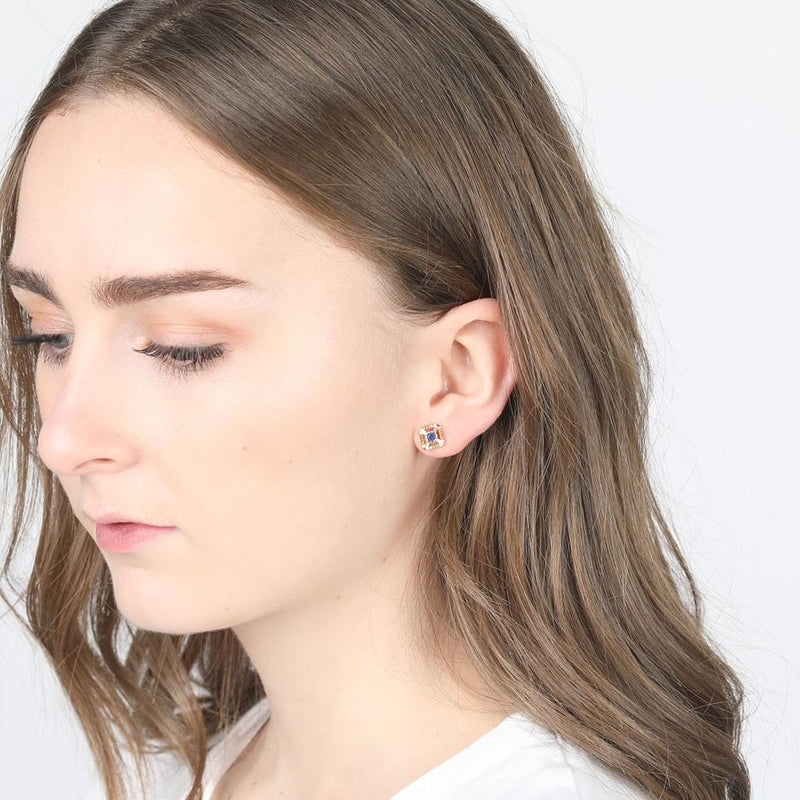 V BY LAURA VANN ELEANOR BLUE STUD EARRINGS