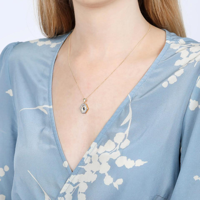 V BY LAURA VANN ESME GOLD, BLUE AND PEARL NECKLACE