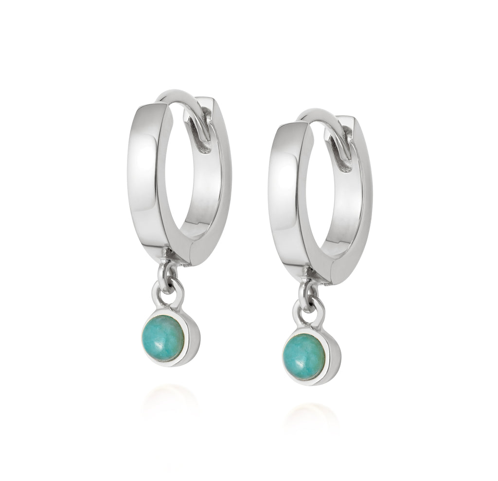 DAISY LONDON AMAZONITE HEALING STONE HUGGIE EARRINGS