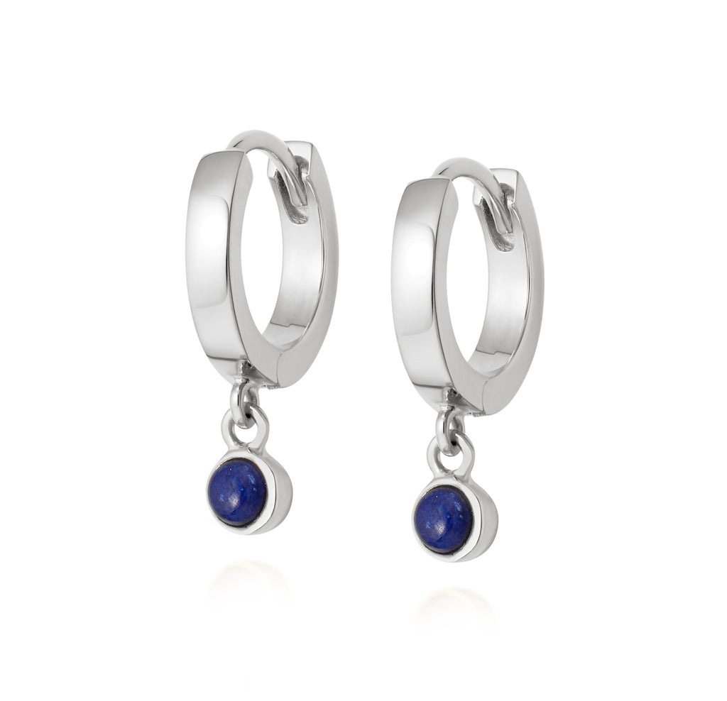 DAISY LONDON LAPIS HEALING STONE HUGGIE EARRINGS