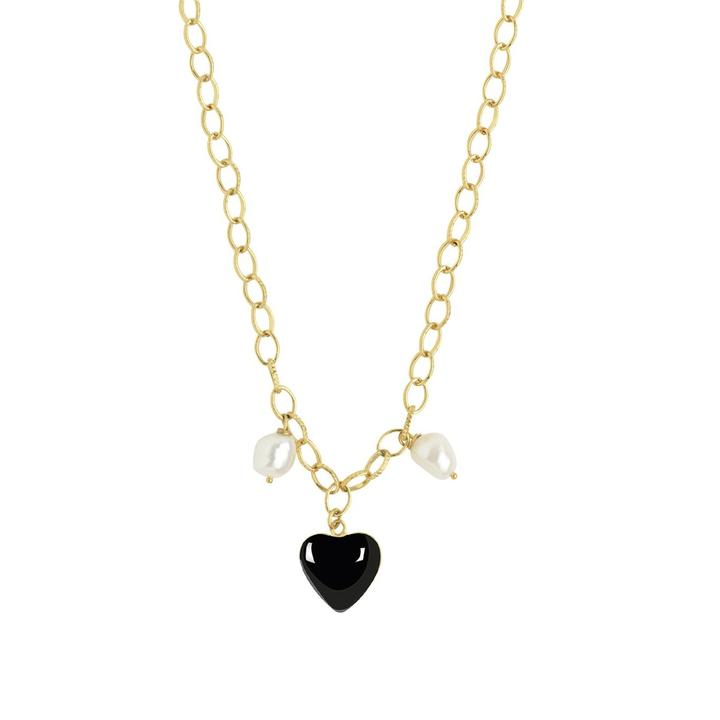 WILHELMINA GARCIA BLACK HEART PEARL NECKLACE