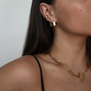 ORELIA LINEAR SQUARE HOOP EARRINGS