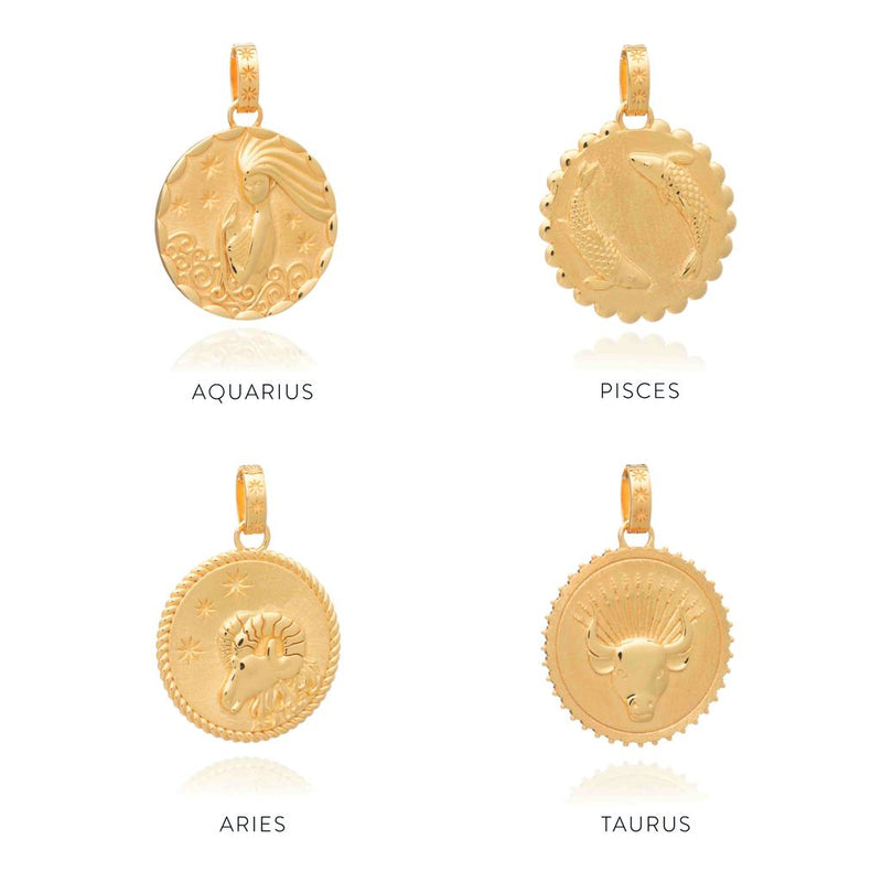 RACHEL JACKSON STATEMENT ZODIAC ART LONG COIN NECKLACE