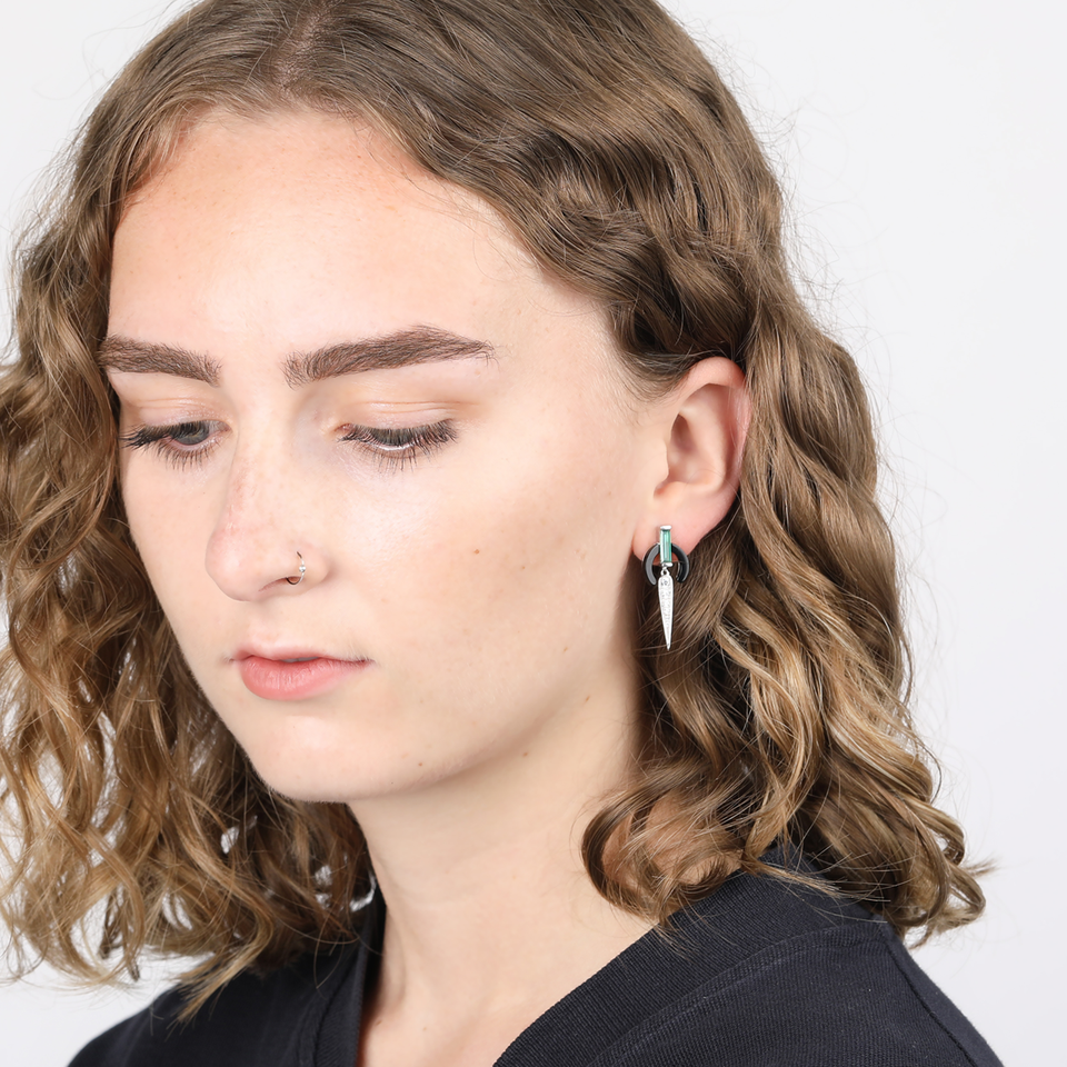 V BY LAURA VANN MATHILDE BLACK AGATE EARRINGS