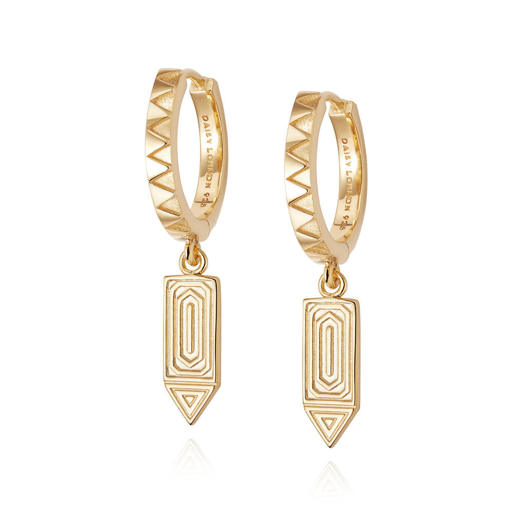 DAISY LONDON ARTISAN DROP HUGGIE EARRINGS
