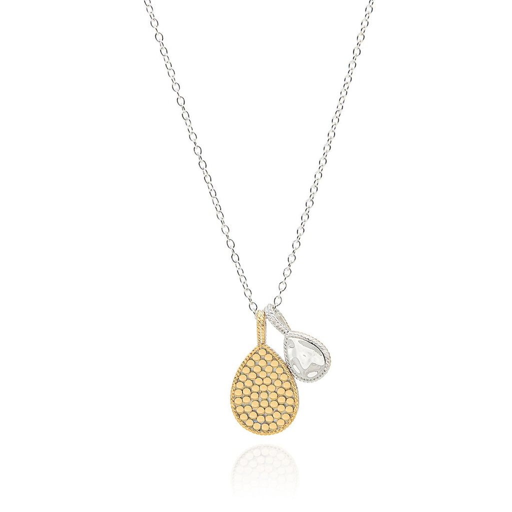 ANNA BECK HAMMERED & DOTTED DOUBLE DROP NECKLACE