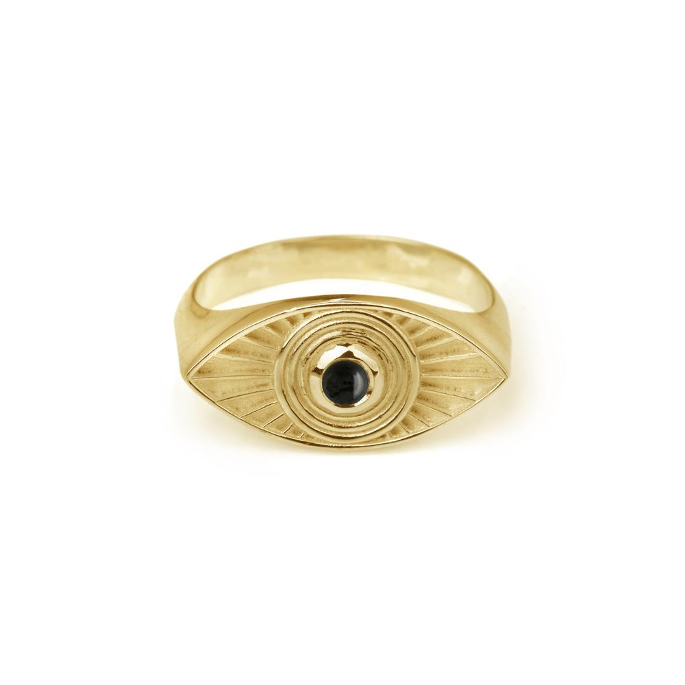 RACHEL ENTWISTLE RAYS OF LIGHT BLACK ONYX RING
