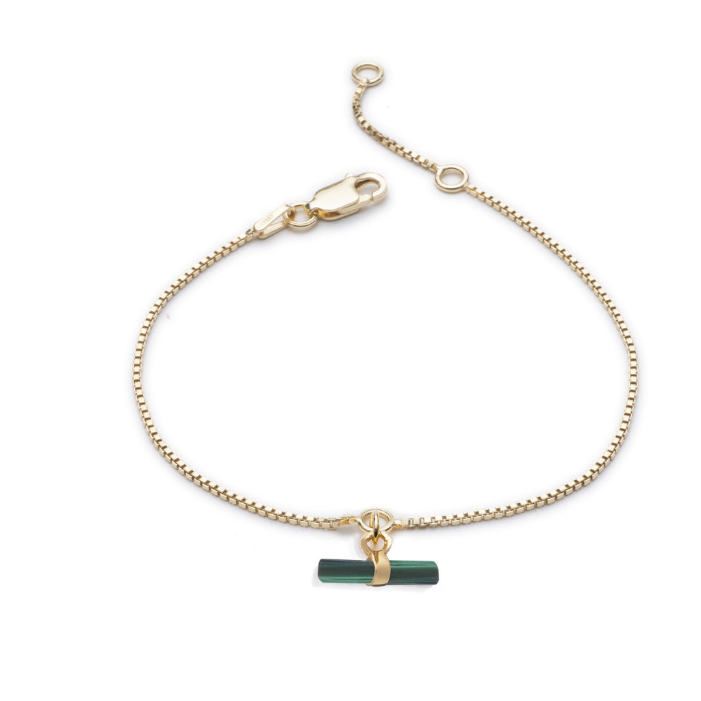RACHEL JACKSON Mini Malachite T Bar Bracelet