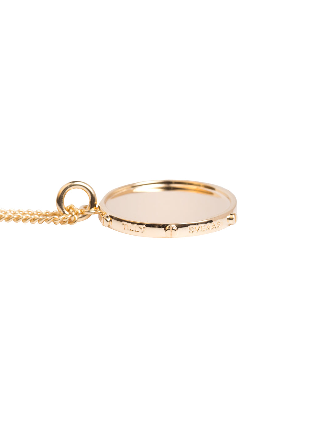 TILLY SVEAAS MEDIUM GOLD DISC ON CURB CHAIN NECKLACE