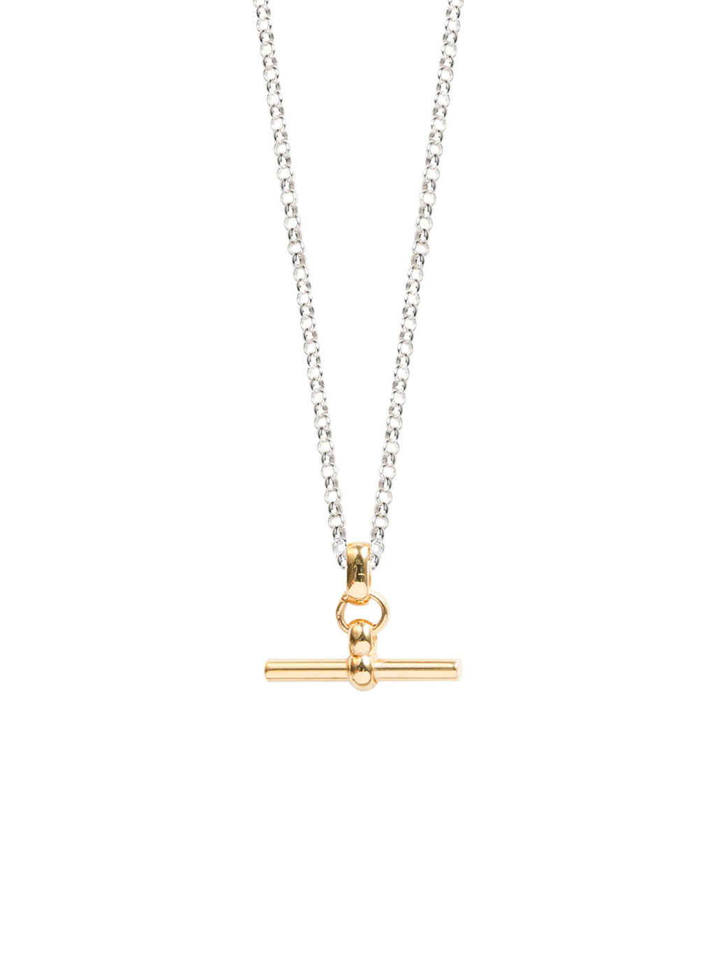 TILLY SVEAAS GOLD T BAR ON SILVER BELACHER CHAIN NECKLACE