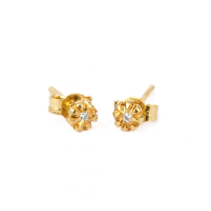 ALEX MONROE BUD DIAMOND STUD EARRINGS
