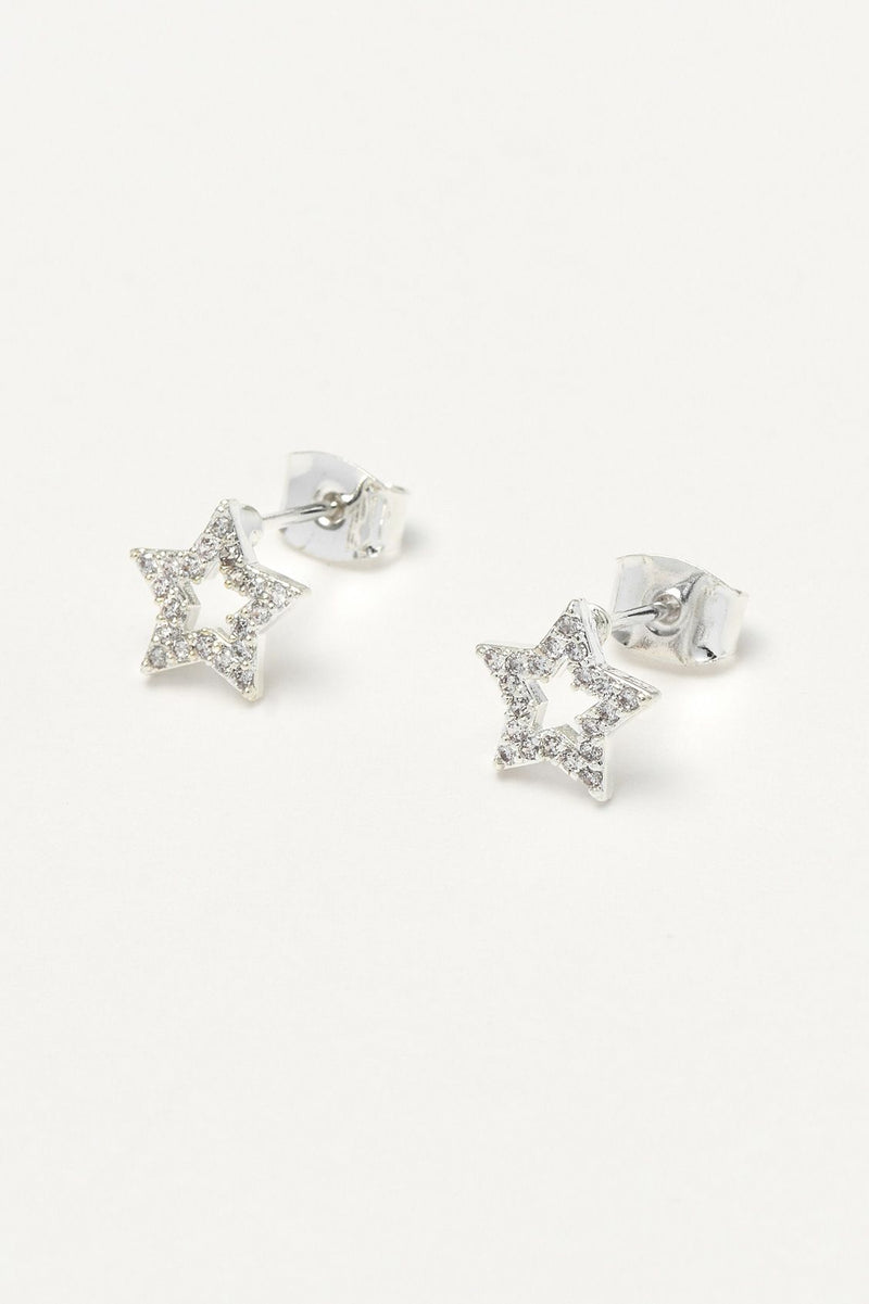 ESTELLA BARLETT OPEN CZ STAR EARRINGS
