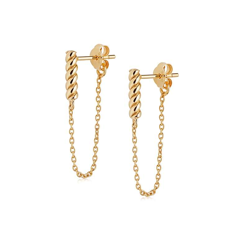 DAISY LONDON STACKED ROPE AND CHAIN DROP EARRINGS