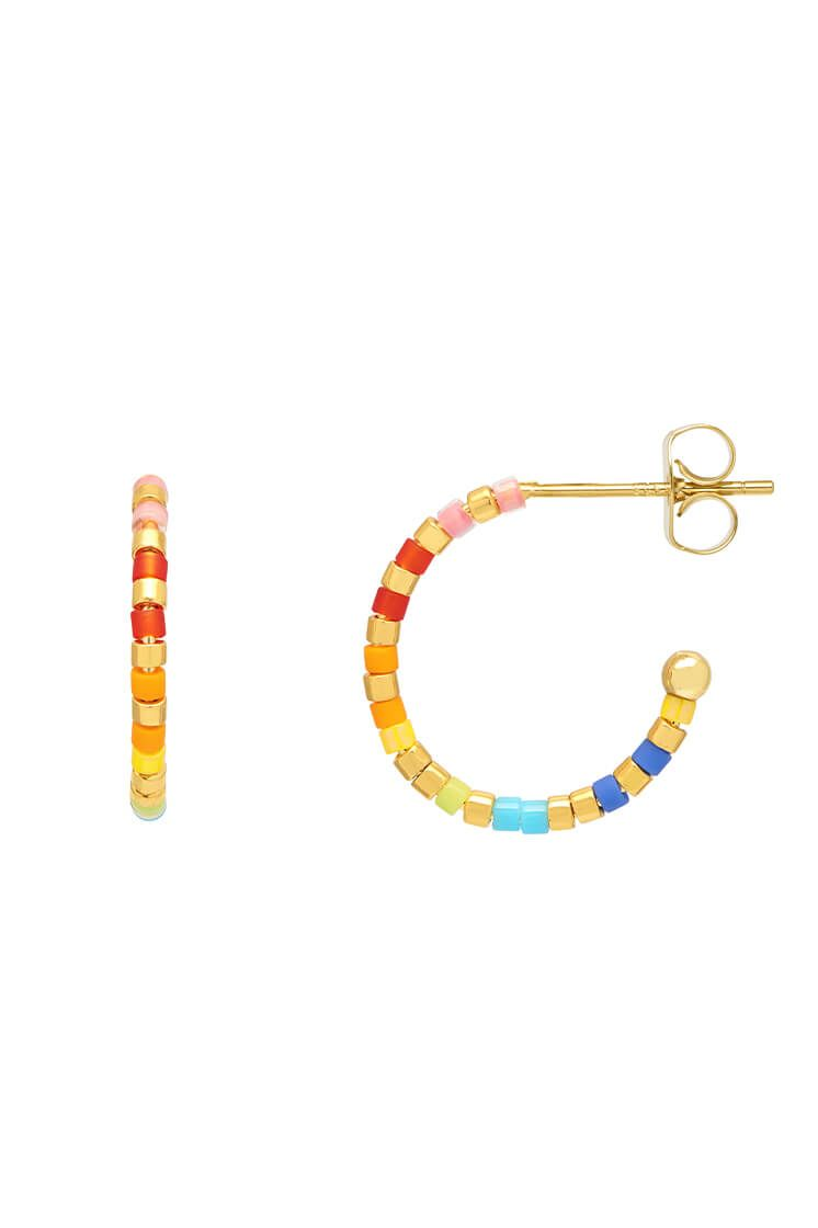 ESTELLA BARTLETT GOLD RAINBOW MIYUKI BEAD HOOP EARRINGS