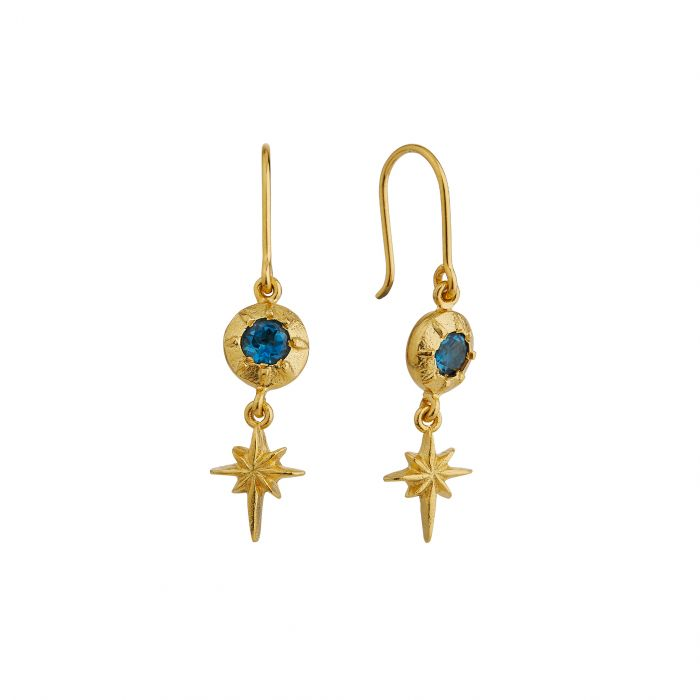 ALEX MONROE GUIDING STAR HOOK EARRINGS WITH LONDON BLUE TOPAZ